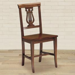 Sedia con arpa e fondino in legno