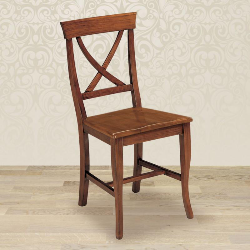 Sedia croce con fondino in legno