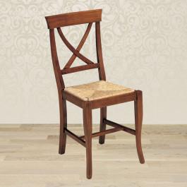 Sedia croce con fondino in paglia