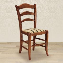 Sedia rustica con fondino in stoffa