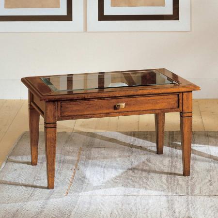 Tavolino piano in vetro 1 cassetto