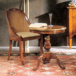 Tavolino rotondo intarsiato con gambone