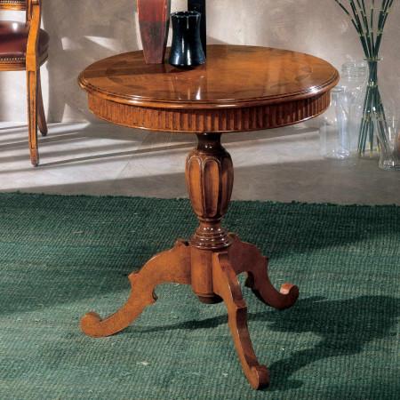 Tavolino rotondo intarsiato e intagliato