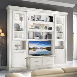 Mobile classico porta TV con vetrine e cestoni