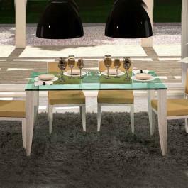 Tavolo rettangolare piano in cristallo 160x90