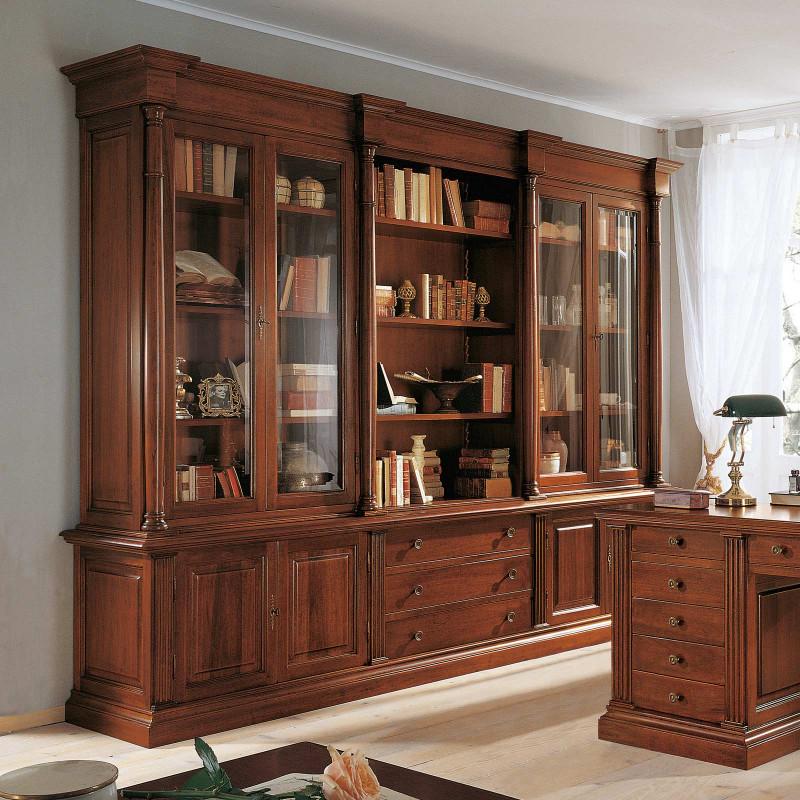 Libreria Con Ante In Vetro Prezzi.Libreria Con Colonne E Ante A Vetro