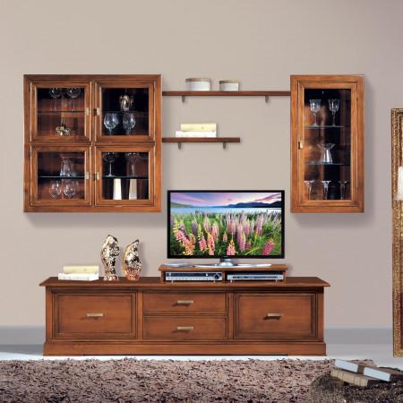 Composizione vetri molati e porta tv