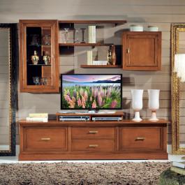 Composizione vetro molato tv e mensole