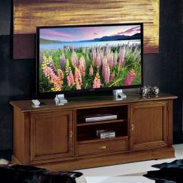 Porta tv stereo con ripiani legno