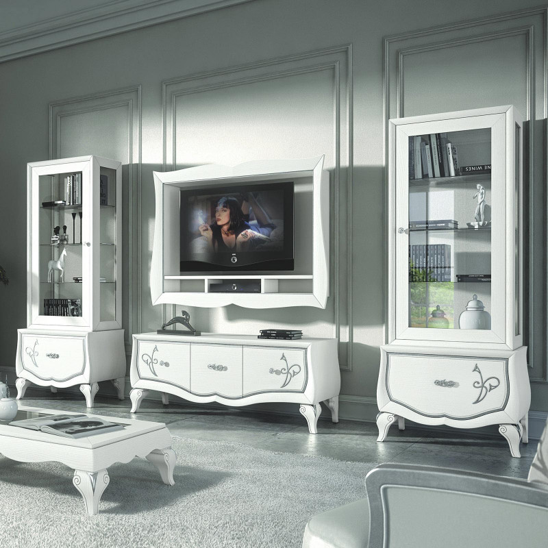 Porta Tv Foglia Oro.Composizione Porta Tv E 2 Vetrine