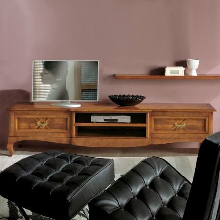 Porta tv con intarsio classico in legno