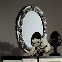 Specchiera ovale argentata