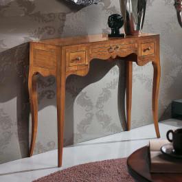 Consolle lastronata in legno