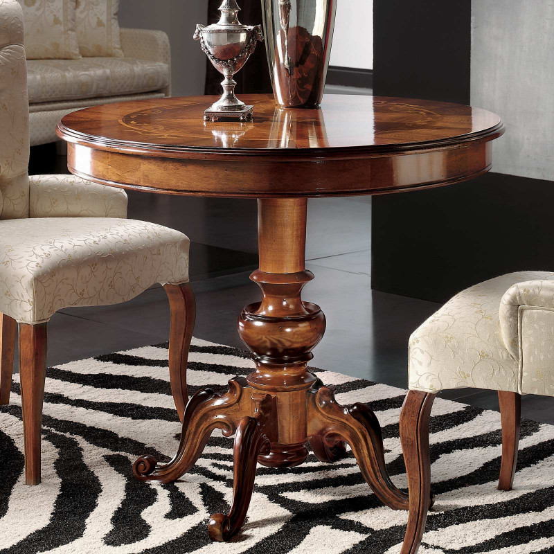 Tavolino Rotondo Intarsiato
