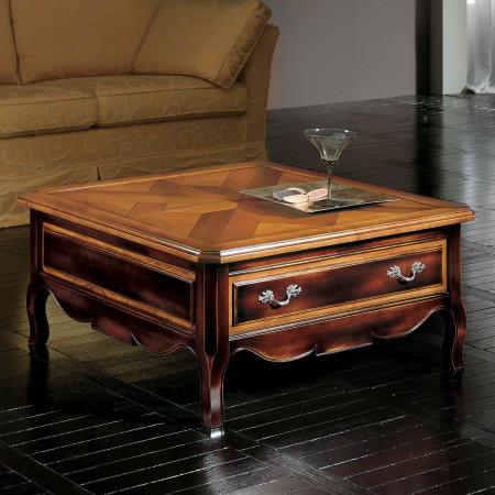 Tavolino quadrato con parquet