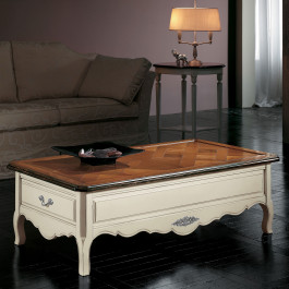 Tavolino rettangolare con parquet