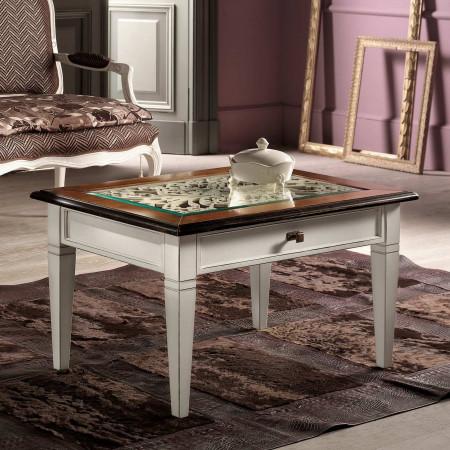 Tavolino con cassetto piano vetro e traforo