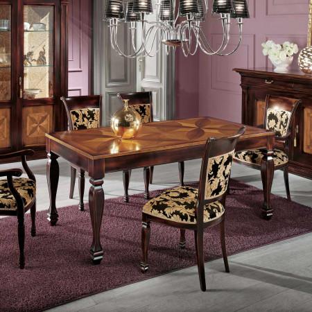Tavolo 170/250x90  intarsiato in legno
