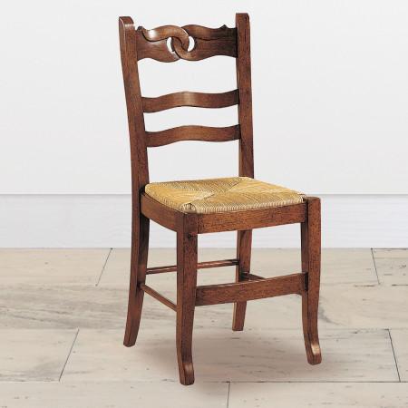 Sedia con fondo in paglia rustica
