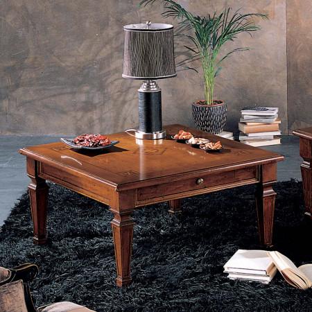 Tavolino 1 cassetto 90x90 intarsiato delux
