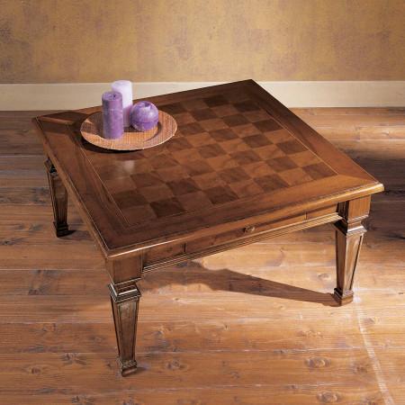 Tavolino 90x90 1 cassetto intarsiato scacchi