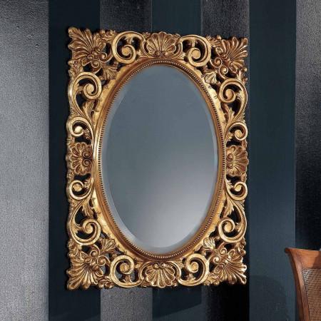 Specchiera con centro ovale foglia oro