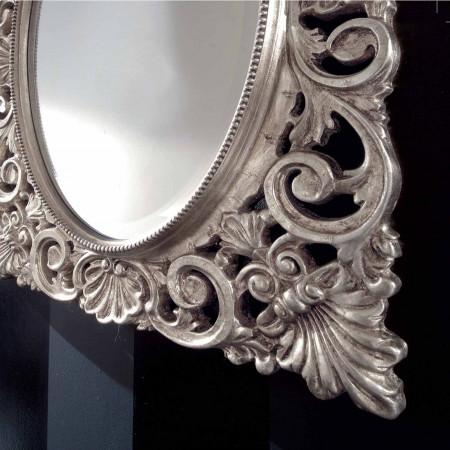 Specchiera centro ovale foglia argento
