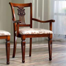 Sedia classica con braccioli e schienale intagliato