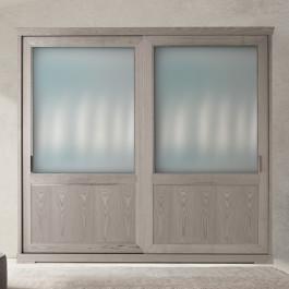 Armadio 2-a scorrevoli vetro e legno di frassino