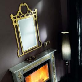 Specchio con cornice foglia oro