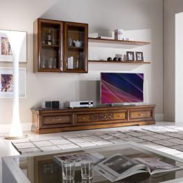 Composizione con porta tv intagliato