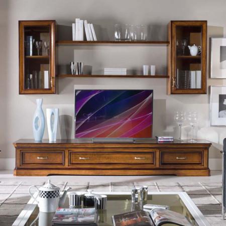 Composizione con  base tv e vetro semplice
