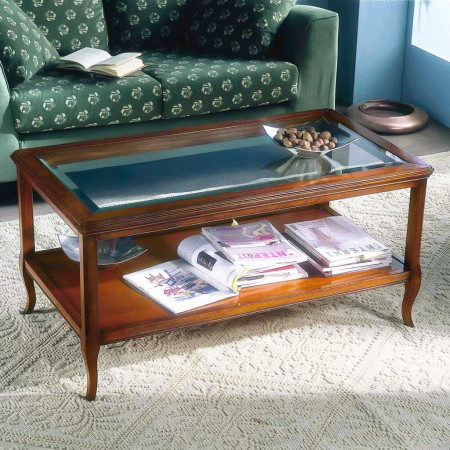Tavolino con piano in vetro da 115 cm
