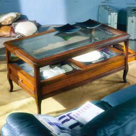 Tavolino con piano in vetro e cassetti