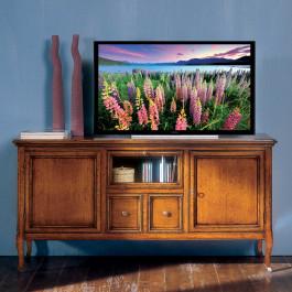 Porta tv con due ante 2 cassetti e ribalta vetro