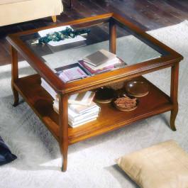 Tavolino con pianetto legno e vetro