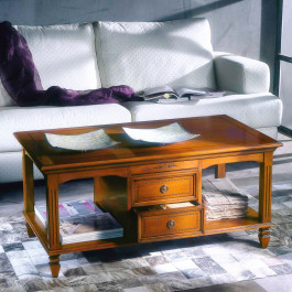 Tavolino con 2 cassetti piano in legno