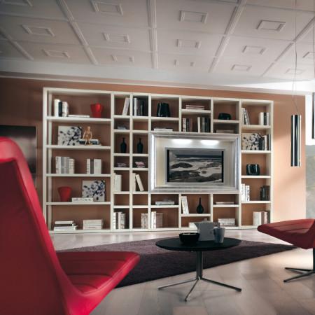 Libreria a giorno cornice tv sagomata