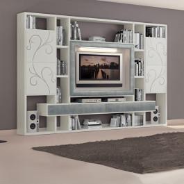 Soggiorno con cornice TV e cassetti in foglia argento
