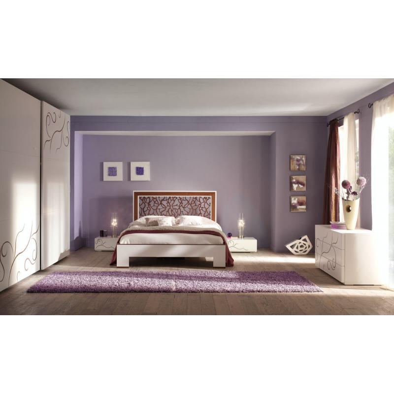 Camera da letto moderna rilievo noce - Camera da letto in noce ...