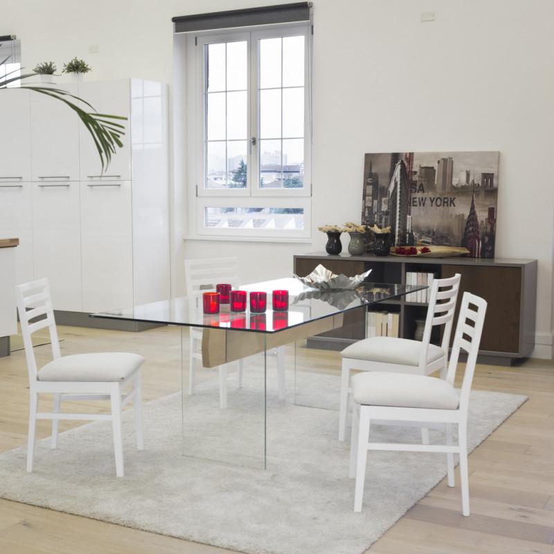 Tavolo moderno in vetro e legno for Tavolo legno moderno