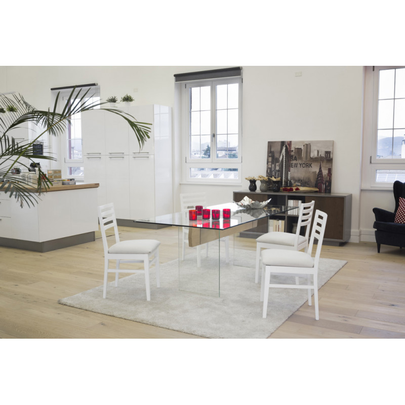 Tavolo moderno in vetro e legno