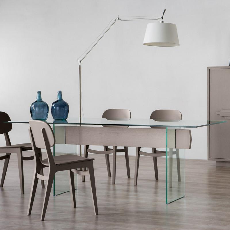 Tavolo moderno in vetro e legno for Tavolo in vetro moderno