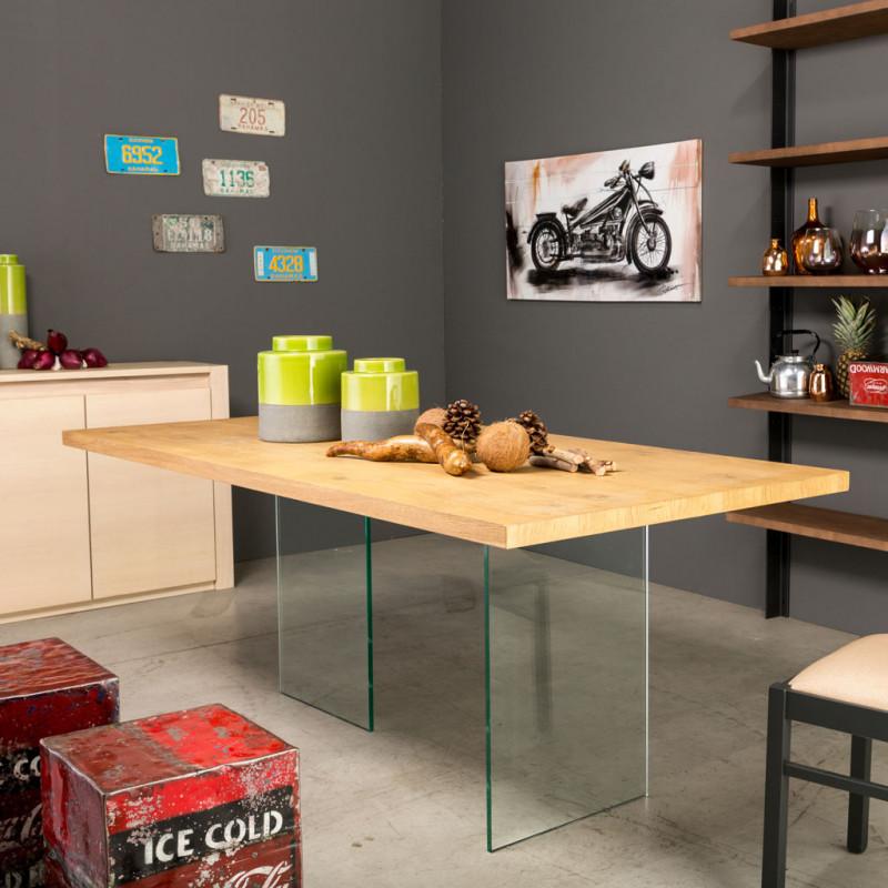 Tavolo cristallo e legno piano con bordo dritto for Tavolo legno e cristallo