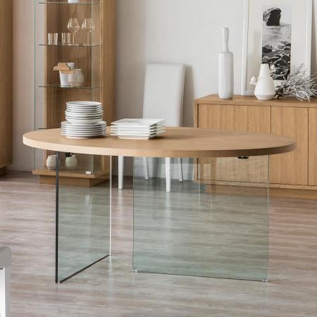 Tavolo ovale in cristallo e piano con bordo dritto