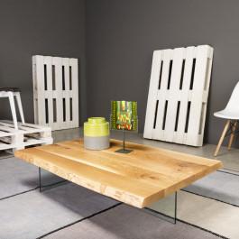 Tavolino con gambe in vetro piano con bordo naturale