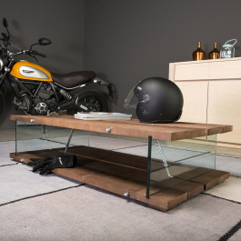 Tavolino con gambe in vetro piano con bordo dritto