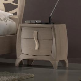 Comodino 2 cassetti con maniglia in legno