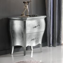 Comodino  bombato foglia argento