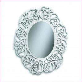 Specchiera ovale laccata bianca